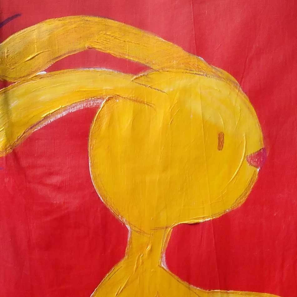 Ridding rabbit canvas