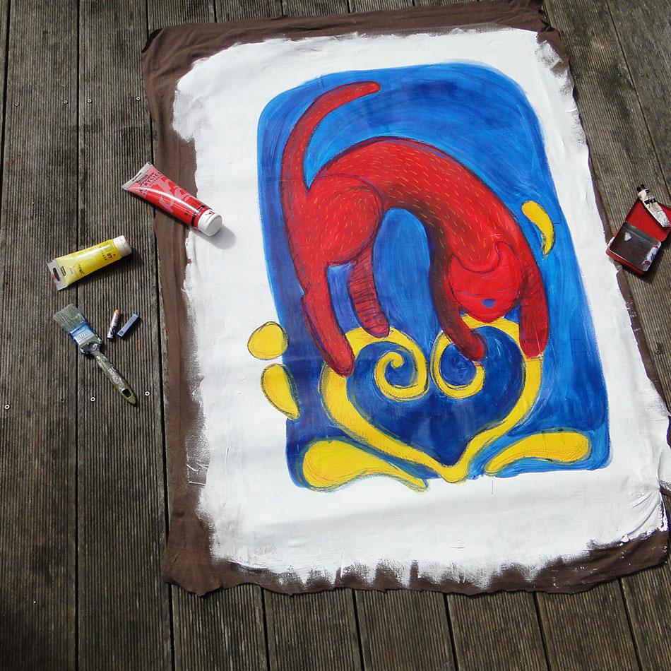 Original red cat painting